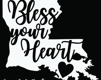 "Louisiana ""Bless Your Heart"" state vinyl decal"