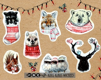 Cute Winter STICKER SET | Klaus Stickers |  Adorable Animals, Christmas gift, Xmas