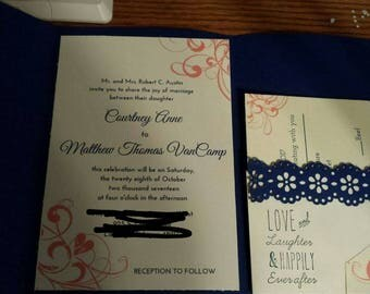 50 invitations with reply cards and detail card