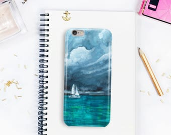 Sailboat phone case, stormy seas, turquoise print, ocean watercolour, samsung case, iphone case