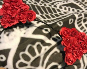 Simple kitty paper Red rose headband.