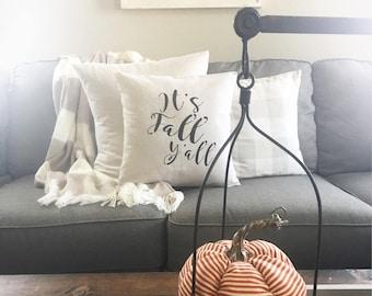 "It's fall y'all, 18""x18"", pillow cover, farmhouse style, modern farmhouse, cushion cover, decorative pillow"