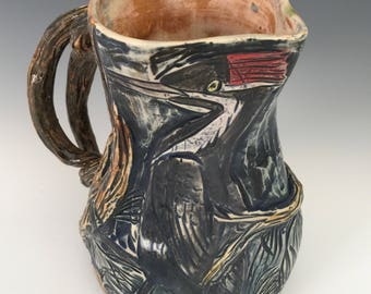 Pileated Woodpeckers Sculptural Pitcher