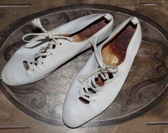 HERMES Paris Vintage P 36.5 White leather shoes