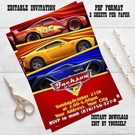 Instant download disney cars invitation disney cars birthday te gusta este artculo solutioingenieria Images