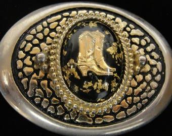 Gold Boots Western Cowboy Belt Buckle