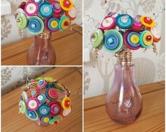 Colourful spring/ summer button posy. Button bouquet
