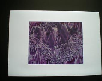 Purple cavern fantasy art, Original encaustic wax art greetings card