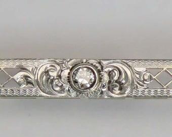 First Quarter 1900's Platinum/14k Gold Bar Pin w/Sapphires & Diamond