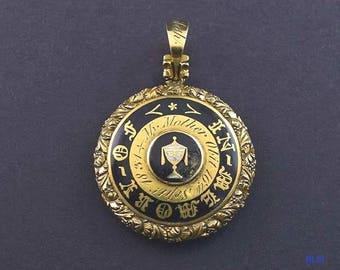 1831 Antique American 18k Gold Black Enamel Memorial Pendant