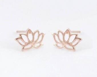 """Flower earrings """"Lotus"""" rose gold"""