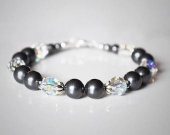 Bridesmaid Bracelet, Pearl Bracelet, Dark Grey, Bridesmaid Bracelet, Bridal Jewellery, Bridesmaid Gift, Wedding Bracelet, Bridal Bracelet