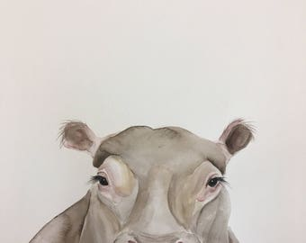 ORIGINAL Hippo portrait original Watercolor