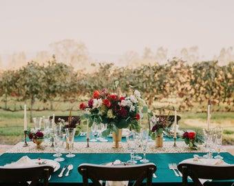 Velvet Tablecloth | Emerald Velvet Tablecloth | Hunter Green Wedding | Emerald Velvet table Linen | Velvet table runner | Emerald wedding