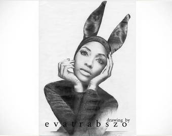 Limited A3 print of my pencil drawing 'Jourdan', originally signed, limited