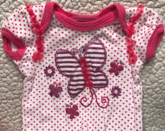 Pink Butterfly Shirt with Tulle Accents (Size 1P)