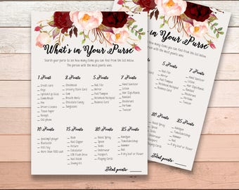 What is in your Purse Bridal Shower Printable Game Burgundy Marsala Wedding Card Instant Download - BG003