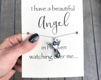 Remembrance necklace, Miscarriage necklace, Miscarriage gift, Memorial gift, Bereavement gift, Monogram necklace,  Angel wings necklace, A69