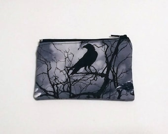 Raven Crow Coin Purse - Zipper Coin Pouch - Cute Coin Purse - Change Wallet - Zipper Bag - Card Wallet- Gift Idea- Birth control case -