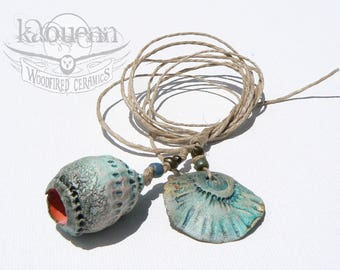 Coral flower and leaf pod, porcelain artisan focal beads by KaouennCeramics