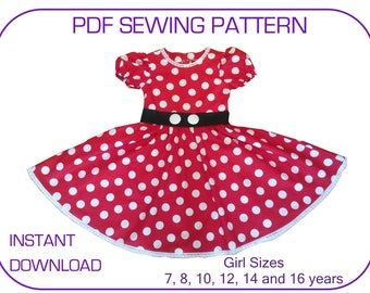 NEW SIZES!! Minnie Mouse costume dress pattern for 7-16yr. PDF sewing pattern for. Instant download. Minnie costume pattern. Minnie outfit.