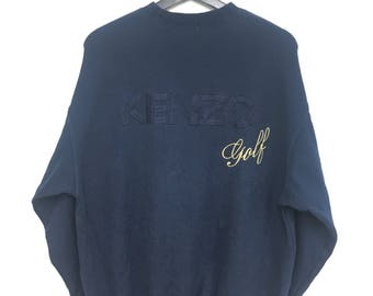 Rare Vintage KENZO Sweatshirt Big Logo Embroidery Pullover Navy Blue Color