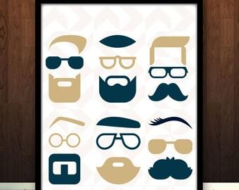 Beard Wall Art, Gentleman Art Print, Sophisticated Beard Art, Beard Room Decor, Beard Design Wall Art, Man Beard Art, Beard Wall Art Print