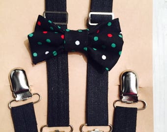 Black Christmas bow tie, Bow tie and suspenders, Baby suspenders, Toddler suspenders, Polka dot bow tie, Baby bow tie, Toddler bow tie, Kids