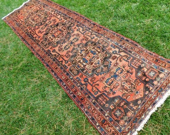 Antique Vintage Persian Rug Runner 3 x 10 Gold Peach Navy Blue