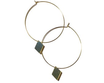 Gold plated hoops with gold diamomd (SM/ LRG)