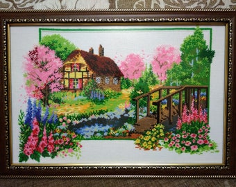 """Cross Stitch Embroidered picture """"Spring Waltz"""" in the Frame With Anti-Reflection Glass"""