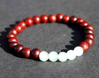 Sandalwood and green aventurine bracelet