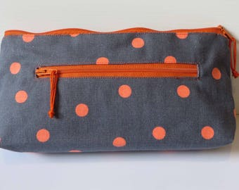 Fleuro orange dots on grey twin zip purse