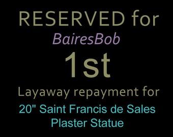 """RESERVED for """"BairesBob"""" 1st Repayment for: 20.4"""" RARE Saint Francis de Sales Plaster Statue Vintage St Figure"""