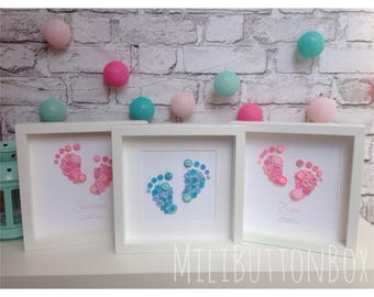 Framed Button Feet Personalised Gift Newborn Baby Feet Button Art with Baby's Name Print Baby Shower Gift Button Box Frame Pink Blue Lovely