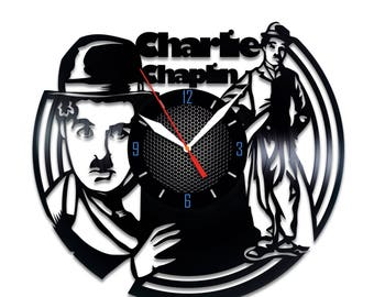 Charlie Chaplin Vinyl clock Charlie Chaplin wall decor Charlie Chaplin movie Charlie Chaplin story Charlie Chaplin gift idea Charlie Chaplin
