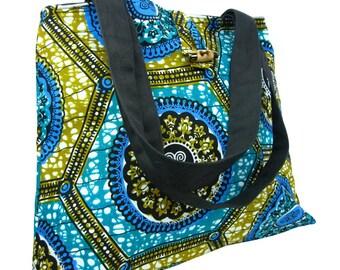 African PrintTote Bag Shoulder Bag Everyday Bag, Beach Bag, Holiday Bag, Wax Print, Shopping Tote, Wax Print Shopping Bag Blue