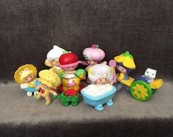 Vintage 80's mini strawberry shortcake and friends pvc figurines figures