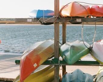 Coastal Summer, Kayaks, Fine Art, Instant Download, Film Photography, Photo Print, Wall Decor