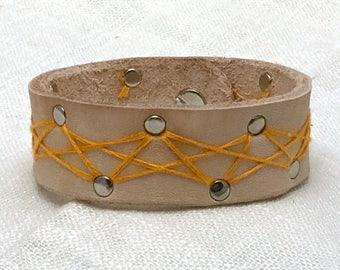 Leather Cuff Bracelet - Cat's Cradle Orange