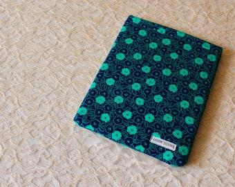 Teal & Navy Flowers Book Sleeve