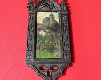 Gothic frame in bronze with miniatur oil on panel