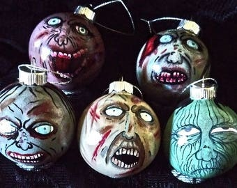Zombie ornaments, Halloween, Christmas, horror collectable, birthday