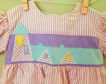 Vtg Summer Lighthouse Dress for Baby - Size 24 Months