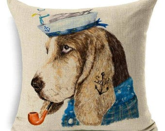 Basset Hound Sailor With Pipe And Blue Shirt Pillowcase