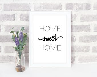 Printable Quote | Home Sweet Home Quote | Word Art | Inspirational Quote | Creative Home Decor | Instant Download