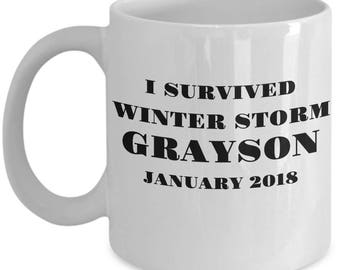 "Gift Mug for Winter Storm Grayson Survivor - ""I Survived Winter Storm Grayson January 2018"" 11 /15 oz White Ceramic Coffee Mug Tea Cup"