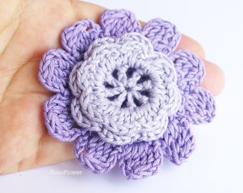2 purple flowers appliques crochet supplies