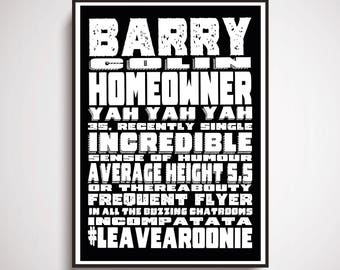 Barry Homeowner A4 print - Bob Mortimer's Athletico Mince podcast