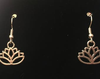 Silver Lotus Dangle Earrings